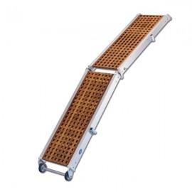 Pasarela plegable rejilla madera/aluminio